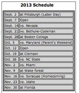 FSU 2013 Schedule