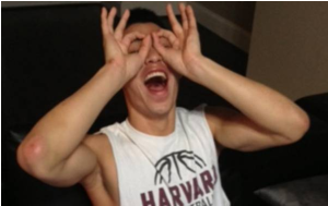 Jeremy Lin celebrates Harvard's first tournament win in school history.