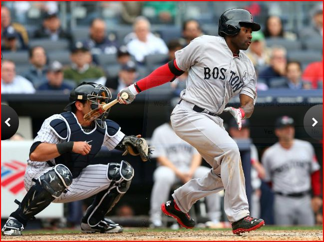 Jackie Bradley Jr. drives in his first MLB run with an RBI groundout on Opening Day 2013. (Photo: Elsa/Getty Images)