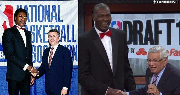 Hakeem and Stern...then and now. (Photos: @BeyondTheBuzzer)