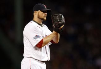 Love that World Series patch on Jon Lester's sleeve.