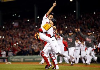Koji celebrates the final out!